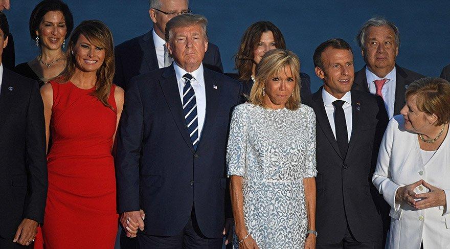 Macron'un eşinin Trump'ı öpmesi G-7 zirvesine damga vuran kareler ile ilgili görsel sonucu