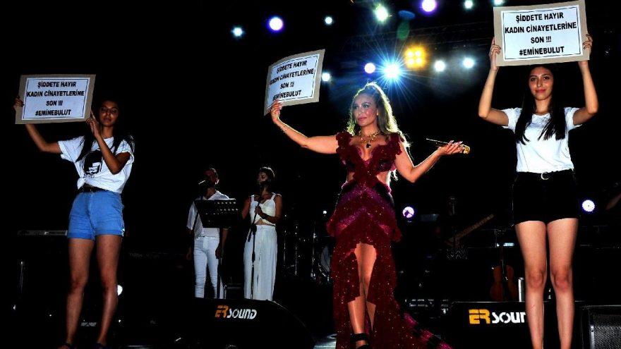 Ziynet Sali'den kadın cinayetlerine pankartlı tepki