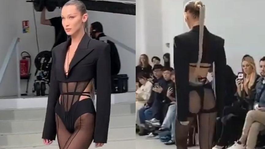 Bella Hadid Mugler defilesindeki seksi kıyafetiyle yürek hoplattı