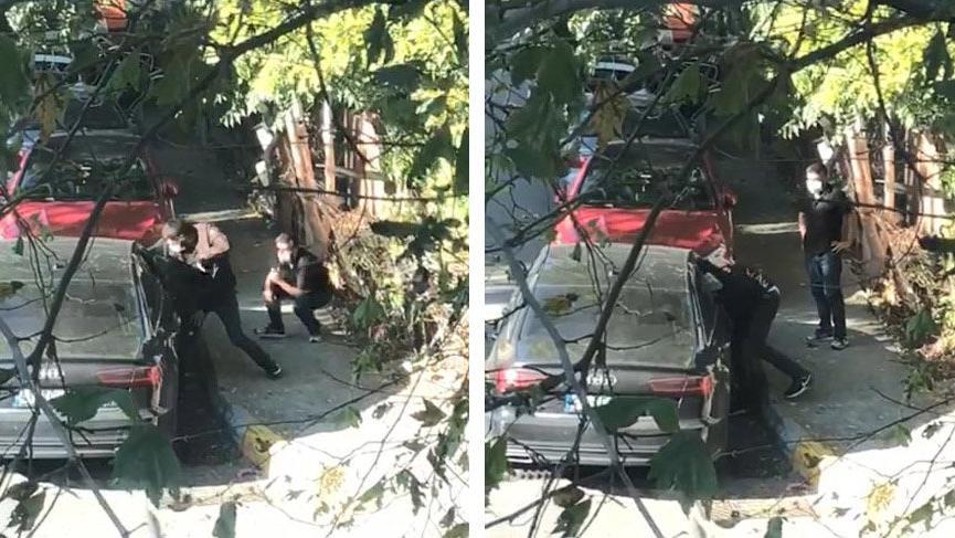 Toz maskeli hırsızlar otomobilin camını kırıp çantayı çaldı