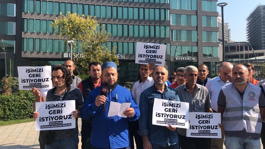 Üsküdar Belediyesi'nden çıkarılan işçilerden eylem