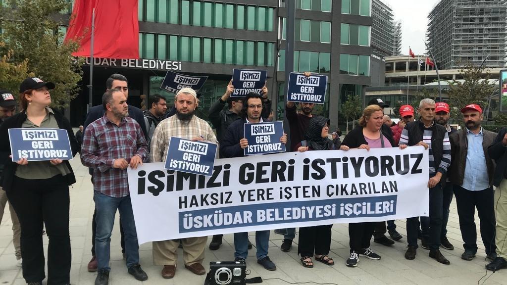 Üsküdar Belediyesi mağdurlarının eylemi sürüyor: Bizi haksız, hukuksuz yere işten attılar