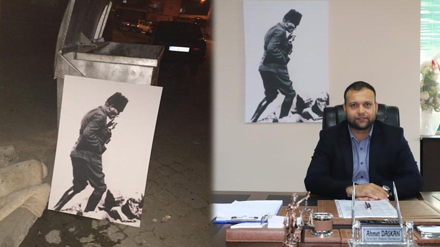 Çöpe bırakılan Atatürk portresini makam odasına astı!