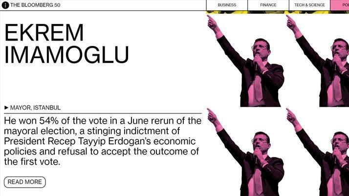 Bloomberg seçti: İBB Başkanı Ekrem İmamoğlu 2019'un en etkili isimleri arasına girdi