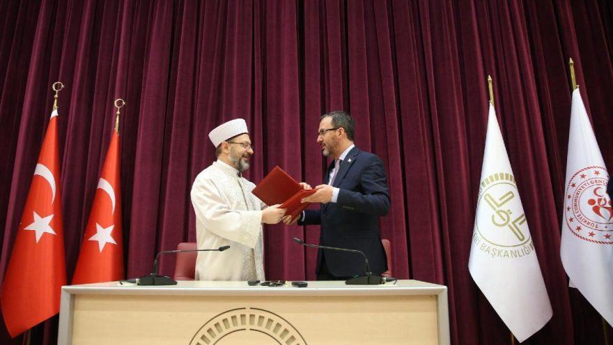 Gençlik ve Spor Bakanlığı ile Diyanet Başkanlığı arasında işbirliği protokolü