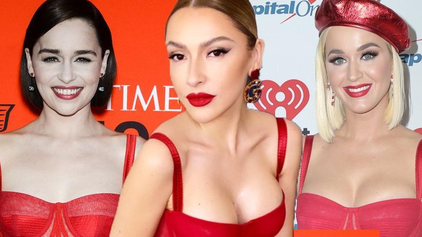Hadise kırmızı Dolce&Gabbana elbisesi ile beğeni topladı