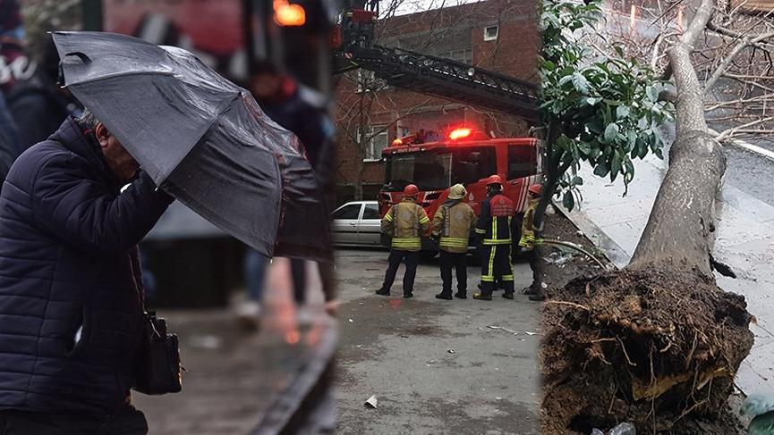 İstanbul'da fırtına! Çatı uçtu, ağaçlar devrildi, minare yerinden oynadı…