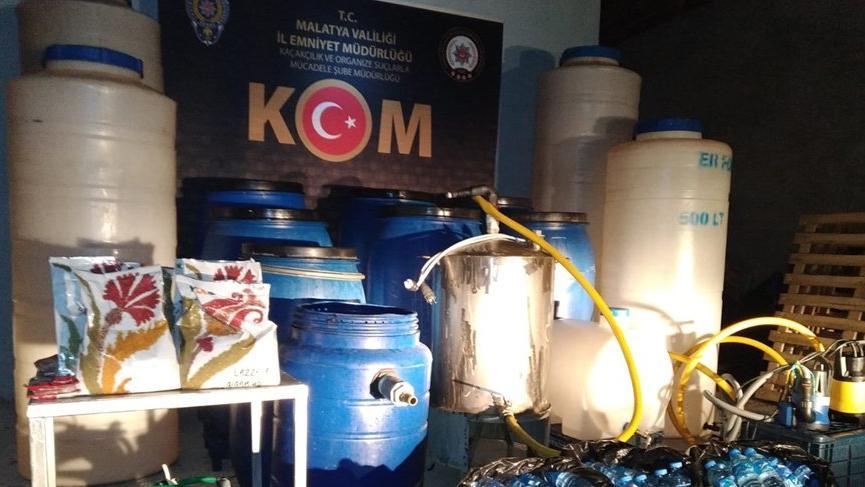 Malatya'da 3 bin 560 litre sahte içki ele geçirildi!