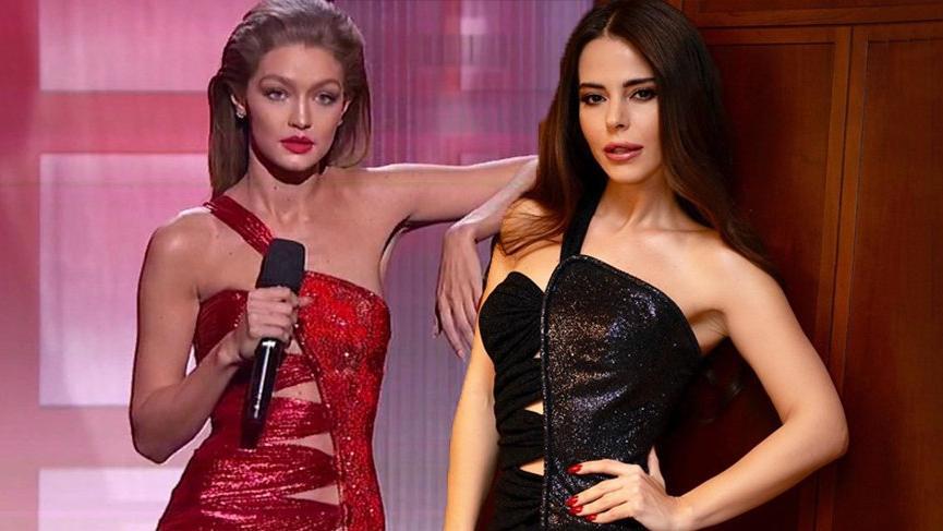 Simge Sağın, Gigi Hadid'in 2016'da giydiği elbisenin birebir aynısını giyerek sahneye çıktı