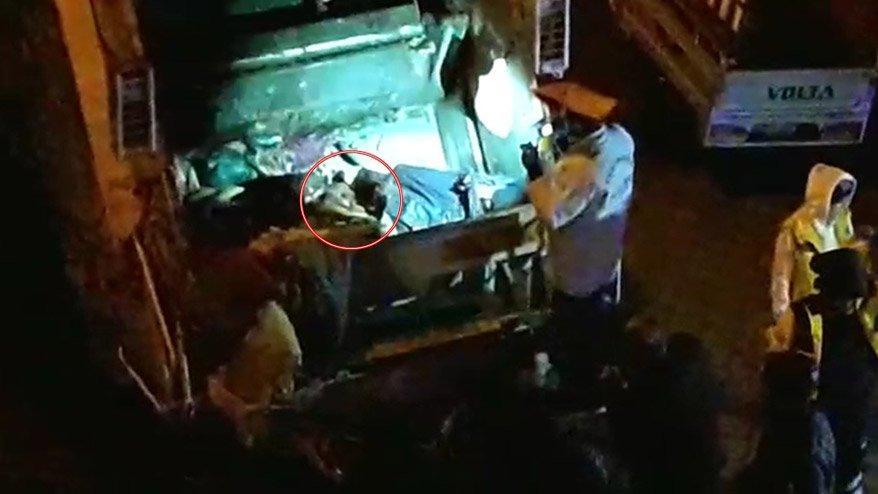 Im Müllwagen ist eine Leiche mit abgeschnittenen Armen und Beinen!