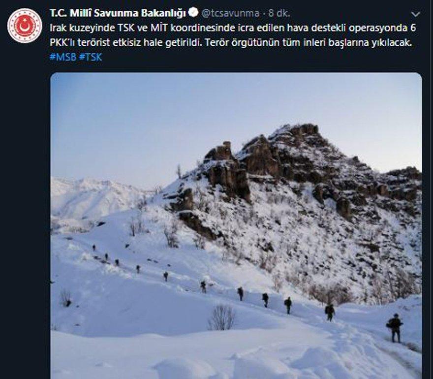 TSK ve MİT'ten hava destekli operasyon; 6 PKK'lı terörist öldürüldü