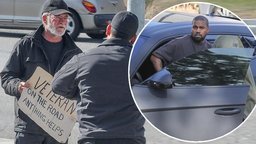 Kanye West arabasını durdurup evsiz bir adama yardımda bulundu