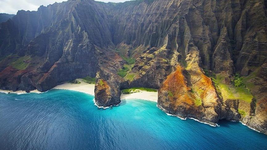 Hawaii'nin Na Pali Dağları'ndan büyüleyici manzaralar