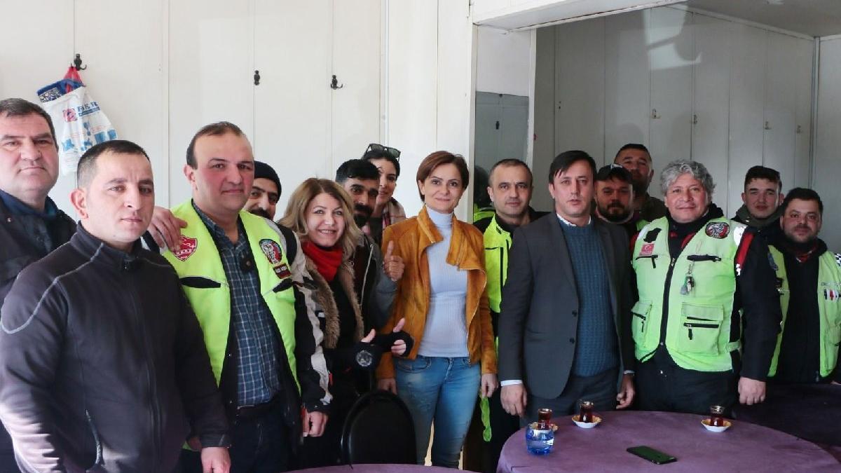CHP'li Kaftancıoğlu motosikletli kuryelerle buluştu