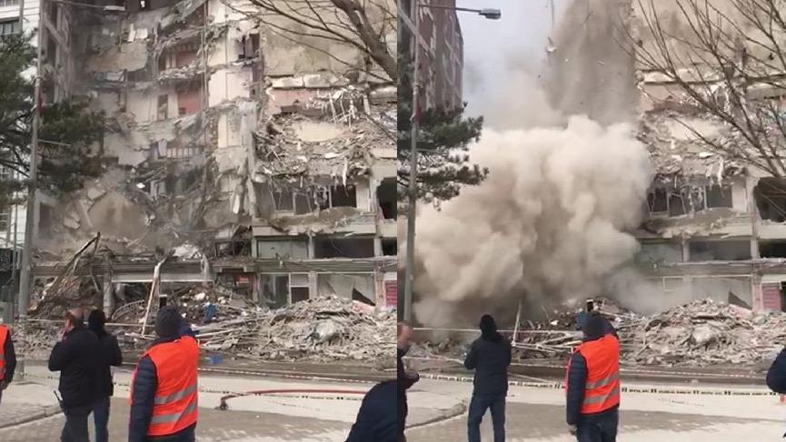 Depremde hasar alan bina yıkılırken çöktü