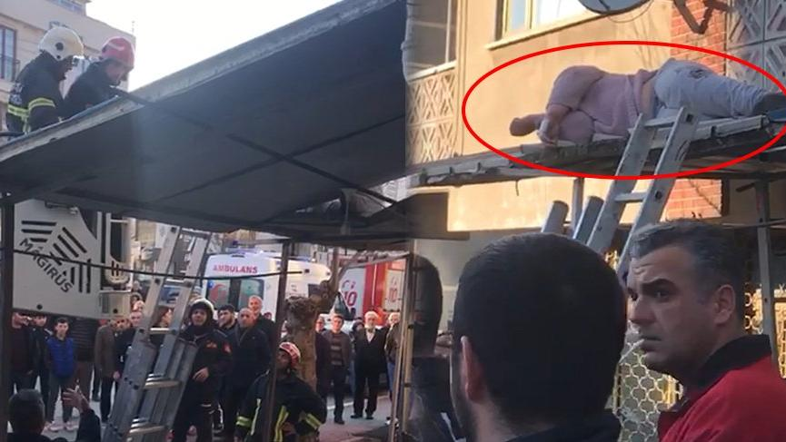 Üçüncü kattaki balkondan düştü! Tente hayatını kurtardı