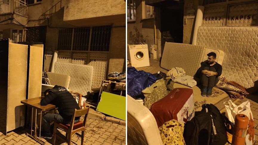 Üniversite öğrencileri eşyaları ile sokakta kaldı