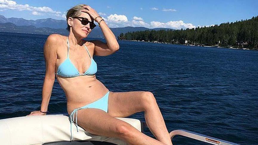 Sharon Stone, göğüs dekolteli transparan elbisesi ile dikkat çekti