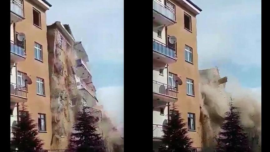 Tam o an! Hasarlı bina böyle yıkıldı...