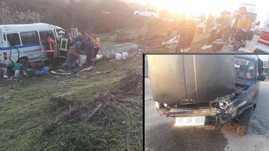 İşçi servisi ile otomobil çarpıştı: 13 yaralı