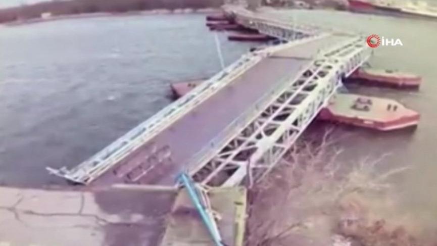 Ukrayna'da şiddetli rüzgarda köprü çöktü