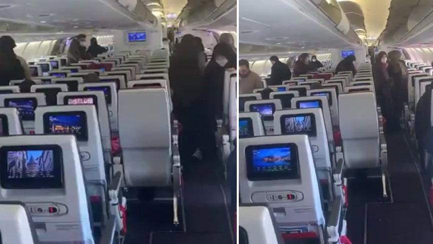 Corona virüsü alarmının verildiği uçağın içi görüntülendi!