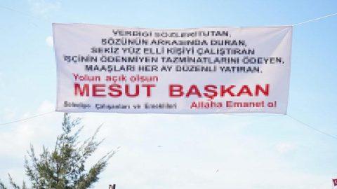 Belediye başkanına bu pankartla teşekkür ettiler