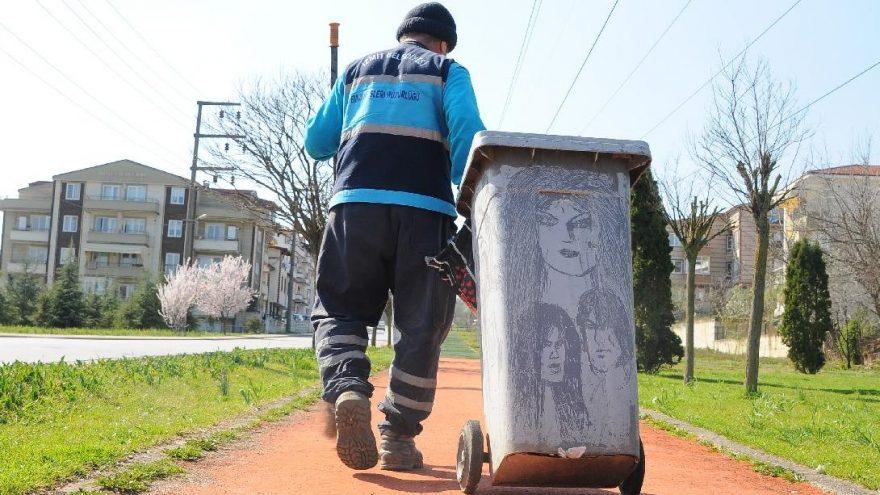 Temizlik işçisinin çizimleri ilgi çekiyor