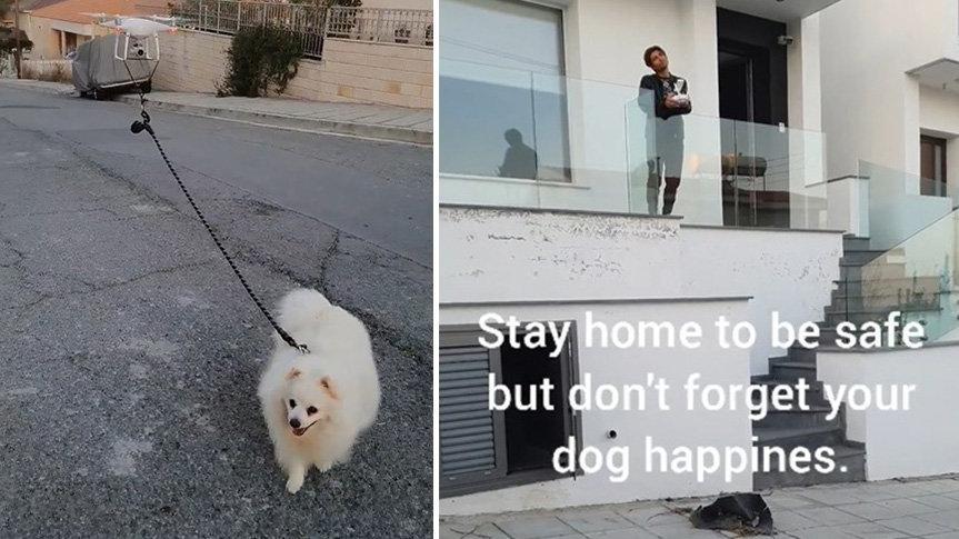 Karantina günlerinde köpeğini drone ile gezdiriyor