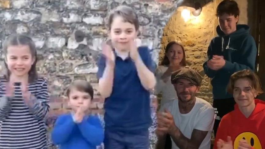 Kate Middleton ile Prens William'ın çocukları ve Beckham ailesi sağlık çalışanlarını alkışladı