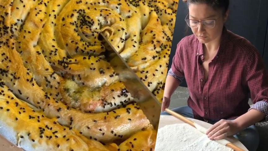 Nurgül Yeşilçay yufka açtı, börek yaptı