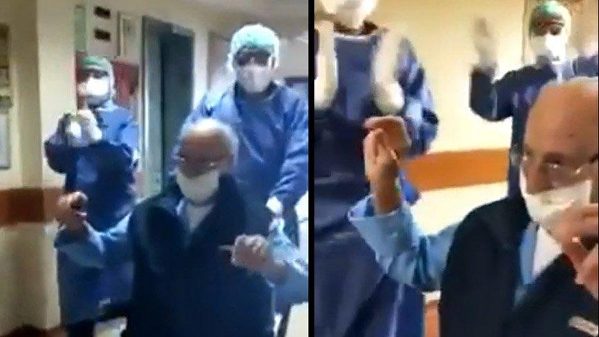 95 yaşında coronayı yendi! Hastaneden oynayarak çıktı