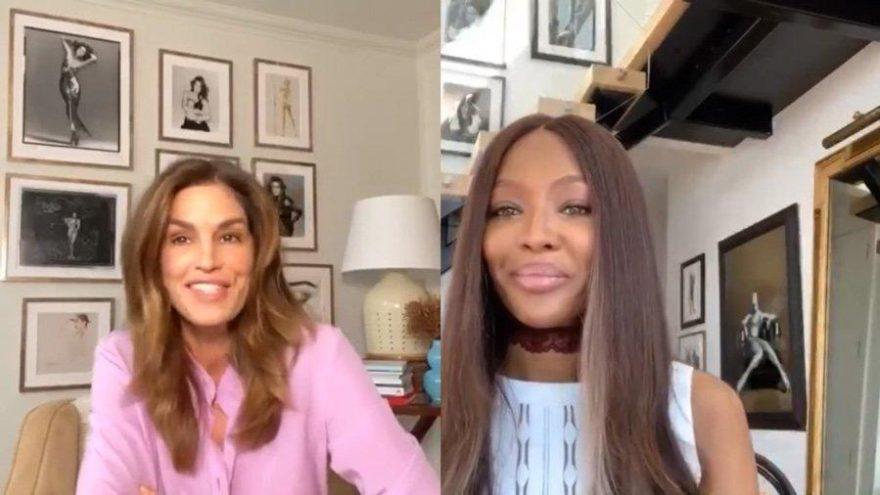 Naomi Campbell ve Cindy Crawford canlı yayında