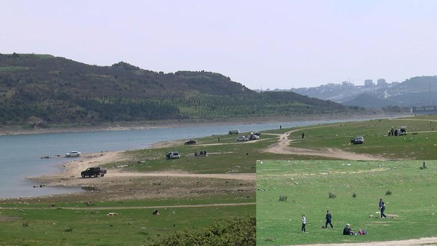 Yasağa rağmen göl kenarında piknik yapıp balık tuttular