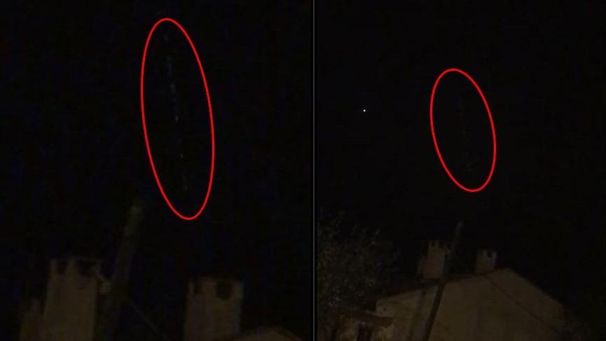 Gökyüzündeki sıralı ışıklar Tekirdağ'da yine görüldü!
