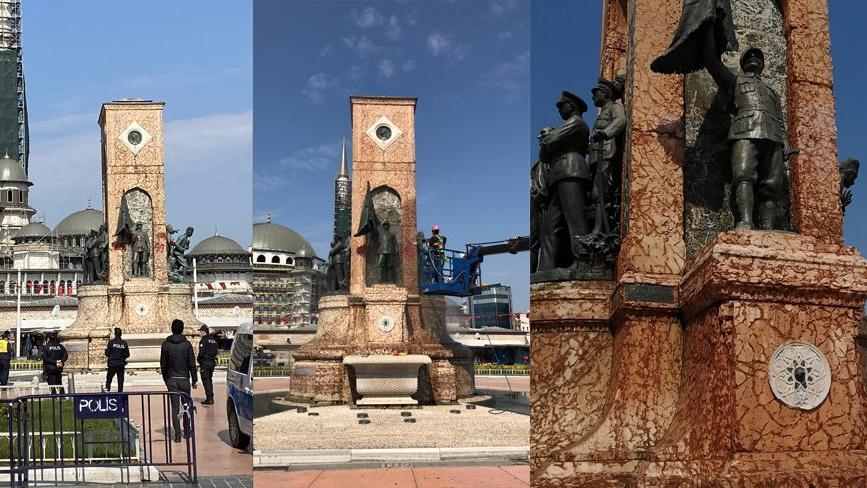 Taksim Cumhuriyet Anıtı'na yazı yazan şüpheli yakalandı