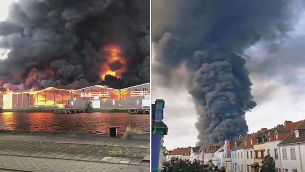 Almanya'da korkutan yangın! Alevler bir anda her yanı sardı