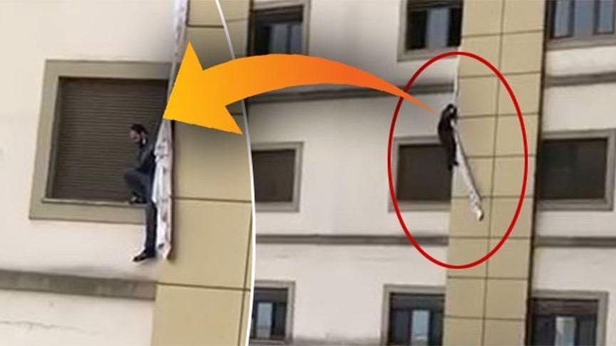 Corona şüphelisi çarşafları bağlayıp hastaneden kaçmaya çalıştı