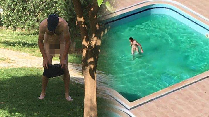 Alkollü Rus turist çırılçıplak havuza girdi