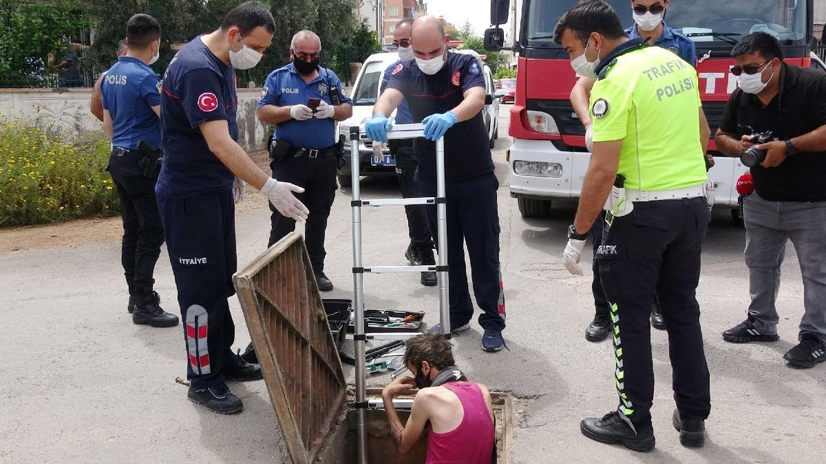 Antalya'da akılalmaz olay! Kanalizasyonda yakalandı...