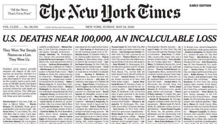 Ünlü gazete New York Times'tan çarpıcı corona birinci sayfası