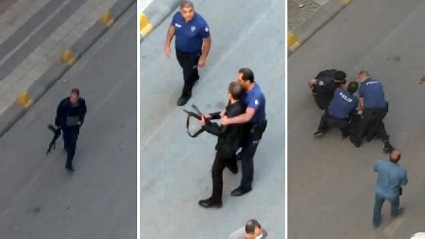 Dehşet anları! Polis tüfekli saldırganı böyle etkisiz hale getirdi