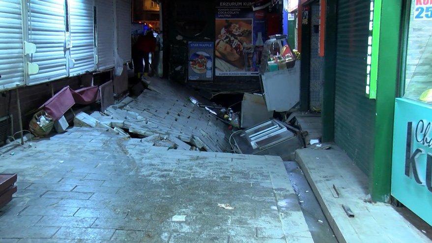 Son dakika... Ortaköy'de kumpircilerin olduğu sokakta çökme!