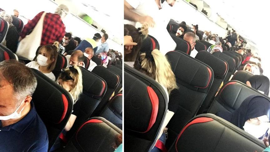 Sosyal mesafesiz uçuş isyan ettirdi: Uçak tıklım tıklım dolu, boş koltuk yok!