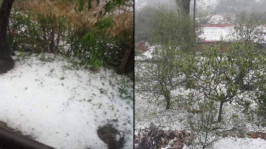 Bursa İznik'te yağış ve dolu hayatı felç etti!