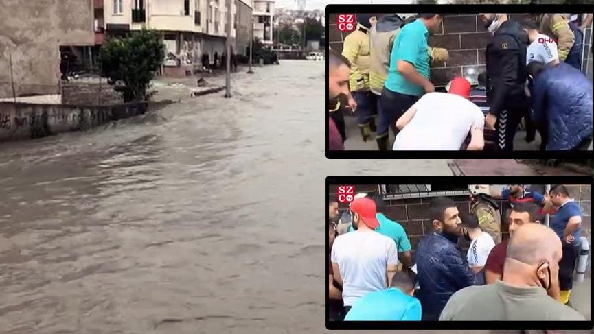 İstanbul'da sel! Mahsur kalan 3 çocuk kurtarıldı