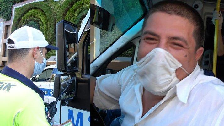 Fazla yolcu taşıdığı için ceza kesilen minibüs şoförünün ilginç tepkisi