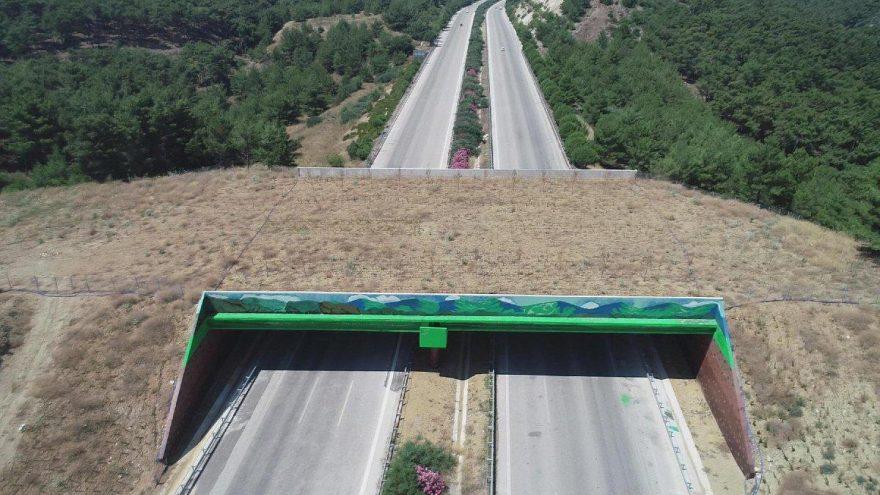 İzmir-Çeşme Otoyolu'ndaki ekolojik köprü tamamlandı