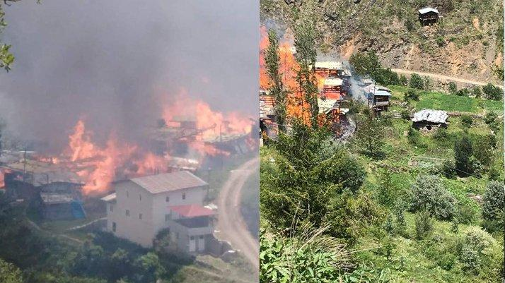 Artvin'de korkutan yangın: Onlarca ev kül oldu