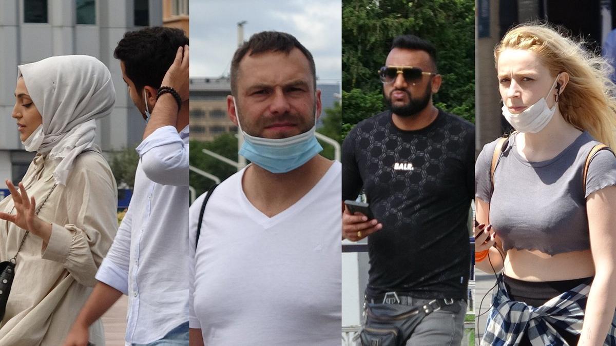 Taksim'de maskeler çeneye düştü
